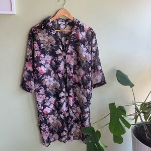 2/25 Only Floral Sheer Button Down Dress m l